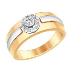 36d7bff9301 Sõrmus punasest ja valgest kullast teemantiga ja kaetud roodiumiga