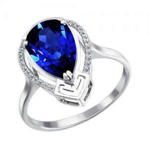 05b15939d47 Sõrmus valgest kullast sünteetilise safiiritud korundiga ja teemantiga